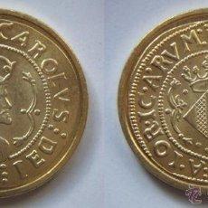 Reproducciones billetes y monedas: CARLOS REPRODUCCION DE LA FNMT BAÑO DE ORO. Lote 51802837