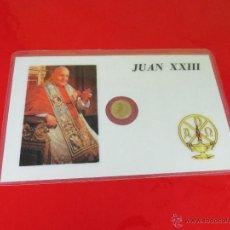 Reproducciones billetes y monedas: *TARJETA CONMEMORATIVA-JUAN XXIII-MONEDA INTERIOR-NUEVA-COLECCIONISMO-VER FOTOS.. Lote 52778719