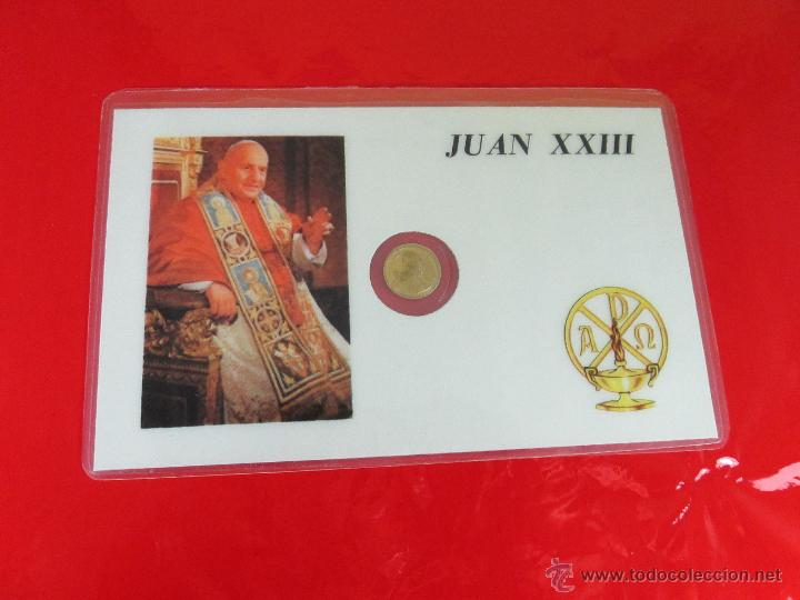 Reproducciones billetes y monedas: *TARJETA CONMEMORATIVA-JUAN XXIII-MONEDA INTERIOR-NUEVA-COLECCIONISMO-VER FOTOS. - Foto 4 - 52778719