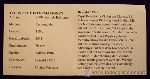 Reproducciones billetes y monedas: VATICANO. MEDALLA BENEDICTO XVI. ESMALTADA 2005 - Foto 6 - 50611607