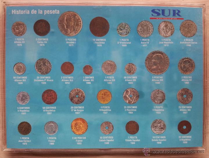 HISTORIA DE LA PESETA - COLECCCION DE 30 MONEDAS (COMPLETO) - EL SUR (Numismática - Reproducciones)