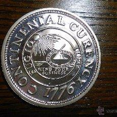 Reproducciones billetes y monedas: ESTADOS UNIDOS. LINGOTE MONETIFORME. ONZA TROY (999MLS). REPRODUCCIÓN MONEDA CONTINENTAL (BU 0210). Lote 54672031