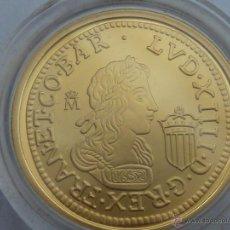 Reproducciones billetes y monedas: REPRODUCCION 4 LUISES DE ORO LUIS XIV LEVANTAMIENTO CATA. FNMT HISTORIA DE LA MONEDA ESPAÑOLA, PLATA. Lote 54914309