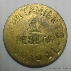 Reproducciones billetes y monedas: I -- UNA PESETA AYUNTAMENTO DE ARAHAL SEVILLA COPIA IDEAL PARA TAPAR EL HUECO. Lote 54919754