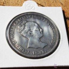 Reproducciones billetes y monedas: ESPAÑA 20 REALES ISABEL II MADRID 1837 (LEER DESCRIPCION). Lote 57301792