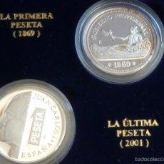 Reproducciones billetes y monedas: REPRODUCCION EN PLATA PURA 999/1000 DE LA PRIMERA Y ULTIMA PESETA ACUÑACIONES IBERICAS. Lote 55399989