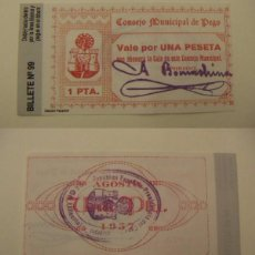Reproducciones billetes y monedas: BILLETE LOCAL FASCIMIL 1 PESETA PEGO. Lote 115021552