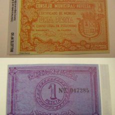 Reproducciones billetes y monedas: BILLETE LOCAL FASCIMIL 1 PESETA NOVELDA. Lote 55808444