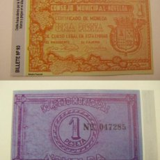 Reproducciones billetes y monedas: BILLETE LOCAL FASCIMIL 1 PESETA NOVELDA. Lote 115021484