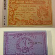 Reproducciones billetes y monedas: BILLETE LOCAL FASCIMIL 1 PESETA NOVELDA. Lote 55808474