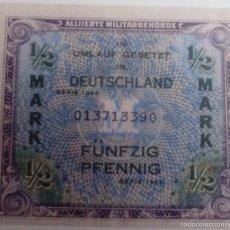 Reproducciones billetes y monedas: BILLETE OCUPACIÓN DE ALEMANIA DE EE.UU. 2 GUERRA MUNDIAL. ½ MARCO. 1944. RÉPLICA. Lote 56084942