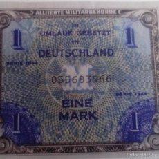 Reproducciones billetes y monedas: BILLETE OCUPACIÓN DE ALEMANIA DE EE.UU. 2 GUERRA MUNDIAL. 1 MARCO. 1944. RÉPLICA. Lote 87180908