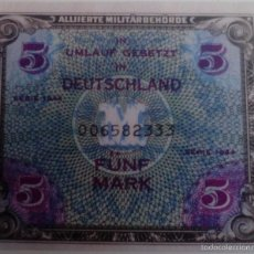 Reproducciones billetes y monedas: BILLETE OCUPACIÓN DE ALEMANIA DE EE.UU. 2 GUERRA MUNDIAL. 5 MARCOS. 1944. RÉPLICA. Lote 87180916