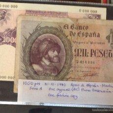 Reproducciones billetes y monedas: BILLETE DE 1000 PTAS - 1940 ORIGINAL SIN SERIE + REPRODUCCIÓN AUTORIZADA. Lote 56088734