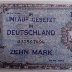 Reproducciones billetes y monedas: BILLETE OCUPACIÓN DE ALEMANIA DE EE.UU. 2 GUERRA MUNDIAL. 10 MARCOS. 1944. RÉPLICA. Lote 57628531