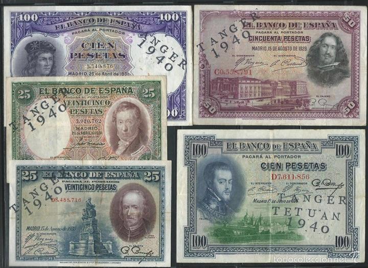 LOTE 5 BILLETES PESETAS 1925 / 1931 CONTRAMARCA RESELLO TÁNGER TETUÁN 1940 ÁFRICA REF4464 (Numismática - Reproducciones)