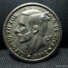 Reproducciones billetes y monedas: REPRODUCCION 1 PESETA 1882. Lote 56398413