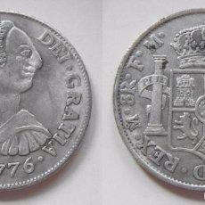 Reproducciones billetes y monedas: REPRODUCCION DE UNA MONEDA DE CARLOS III 8 REALES 1776. Lote 56896413