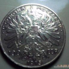 Reproducciones billetes y monedas: AUSTRIA. 100 CORONAS 1915. FALSA DE ÉPOCA. FRANCISCO JOSÉ. COLOR ORO.. Lote 57019436