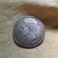 Reproducciones billetes y monedas: DURO FALSO- 5 PESETAS ALFONSO XII .-1881. Lote 57135324
