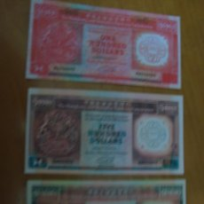 Reproducciones billetes y monedas: REPRODUCCIONES BILLETES DE 100 - 500 - 1000 DOLARES HONG KONG. Lote 79840439