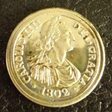 Reproducciones billetes y monedas: REPRODUCCIÓN EN PLATA DE 800 MILÉSIMAS DE LA MONEDA 2 REALES DE CARLOS IV. CECA VALENCIA. Lote 57935601