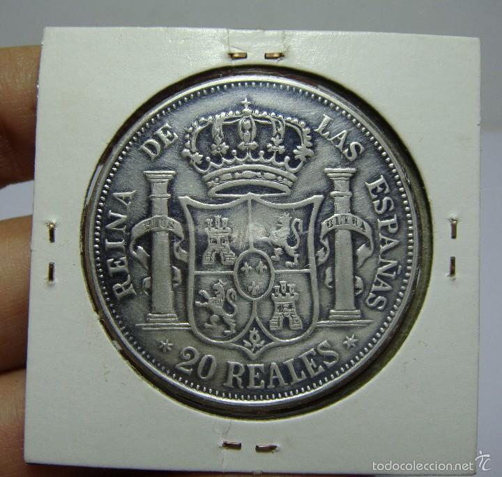 Reproducciones billetes y monedas: 20 Reales. Isabel II. Madrid - 1860 (Reproducción) - Foto 2 - 57994857