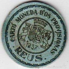 Reproductions billets et monnaies: CARTÓN MONEDA DE USO PROVISIONAL REUS TARRAGONA 1937 SELLO 45 CÉNTIMOS REPÚBLICA ESPAÑOLA. Lote 58235630