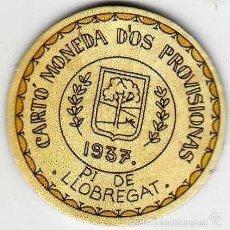 Reproducciones billetes y monedas: CARTÓN MONEDA DE USO PROVISIONAL PI DE LLOBREGAT BARCELONA 1937 SELLO 20 CÉNTIMOS REPÚBLICA ESPAÑOLA. Lote 58238384