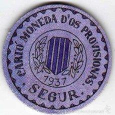 Reproducciones billetes y monedas: CARTÓN MONEDA DE USO PROVISIONAL SEGUR LÉRIDA 1937 SELLO 20 CÉNTIMOS REPÚBLICA ESPAÑOLA REPRODUCCIÓN. Lote 58239021