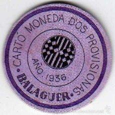 Reproducciones billetes y monedas: CARTÓN MONEDA DE USO PROVISIONAL BALAGUER LÉRIDA 1937 SELLO 20 CÉNTIMOS REPÚBLICA ESPAÑOLA. Lote 58239037