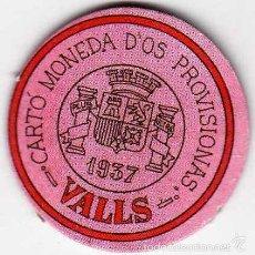 Reproducciones billetes y monedas: CARTÓN MONEDA DE USO PROVISIONAL VALLS TARRAGONA 1937 15 CÉNTIMOS REPÚBLICA ESPAÑOLA REPRODUCCIÓN. Lote 58239132