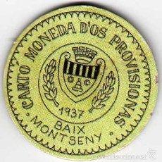 Reproducciones billetes y monedas: CARTÓN MONEDA DE USO PROVISIONAL BAIX MONTSENY GERONA 1937 SELLO 15 CÉNTIMOS REPÚBLICA ESPAÑOLA. Lote 58239187