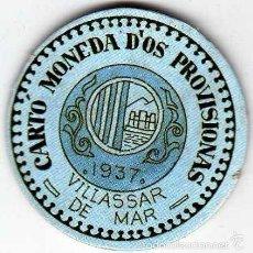 Reproducciones billetes y monedas: CARTÓN MONEDA DE USO PROVISIONAL VILLASSAR DE MAR BARCELONA 1937 10 CÉNTIMOS REPÚBLICA ESPAÑOLA. Lote 58239508