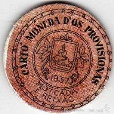 Reproducciones billetes y monedas: CARTÓN MONEDA DE USO PROVISIONAL MOTCADA I REIXAC BARCELONA 1937 SELLO 10 CÉNTIMOS REPÚBLICA ESPAÑA. Lote 58239587