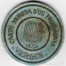 Reproducciones billetes y monedas: CARTÓN MONEDA DE USO PROVISIONAL VERGES GERONA 1937 SELLO 5 CÉNTIMOS REPÚBLICA ESPAÑOLA. Lote 58239647