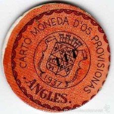 Reproducciones billetes y monedas: CARTÓN MONEDA DE USO PROVISIONAL ANGLES GERONA 1937 SELLO 5 CÉNTIMOS REPÚBLICA ESPAÑOLA REPRODUCCIÓN. Lote 58240012