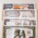 Reproducciones billetes y monedas: LOTE DE 4 TAPETES CON MOTIVOS DE BILLETES ESPAÑOLES ANTIGUOS. 46 X 29 CM. Lote 60595935