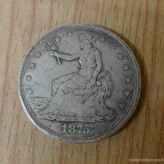 Reproducciones billetes y monedas: MONEDA USA TRADE DOLAR 1875 CARSON CITY - REPRODUCCIÓN. Lote 142873053