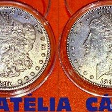 Reproducciones billetes y monedas: USA DOLLAR PLATA AÑO 1895 LIBERTY MORGAN (AMBOS LADOS IGUALES) S.C. 38 MM 26,55 GRS CAPSULA USA 22. Lote 100511970