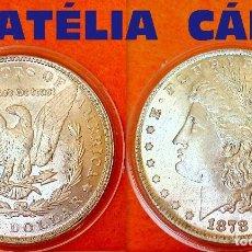 Reproducciones billetes y monedas: USA DOLLAR PLATA 1878 LIBERTY - MORGAN -- S.C. 38 MM 24,20 GRS CAPSULA USA 25. Lote 61582460