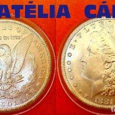 Reproducciones billetes y monedas: USA DOLLAR PLATA 1881 LIBERTY - MORGAN --- S.C. 38 MM 23,60 GRS CAPSULA USA 28. Lote 61582804