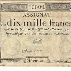 Reproducciones billetes y monedas: BILLETE DE 10000 FRANCOS, Nº 153 - SERIE 224 - REPRODUCCION. Lote 61948224