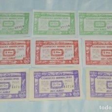 Reproducciones billetes y monedas: 9X BILLETE GUERRA CIVIL - JUNIO 1937 - ALCAÑIZ - CONSEJO MUNICIPAL. Lote 62283168
