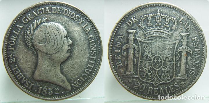 REPRODUCCION DE UNA MONEDA DE ISABEL II 20 REALES AÑO 1852 (Numismática - Reproducciones)