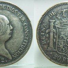 Reproducciones billetes y monedas: REPRODUCCION DE UNA MONEDA DE ISABEL II 20 REALES AÑO 1852. Lote 64464155
