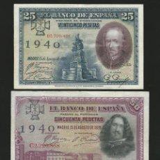 Reproducciones billetes y monedas: LOTE DE 3 BILLETES ESTADO ESPAÑOL 1925 1928 RESELLO CRUZ FALANGE REF 4359. Lote 222875408