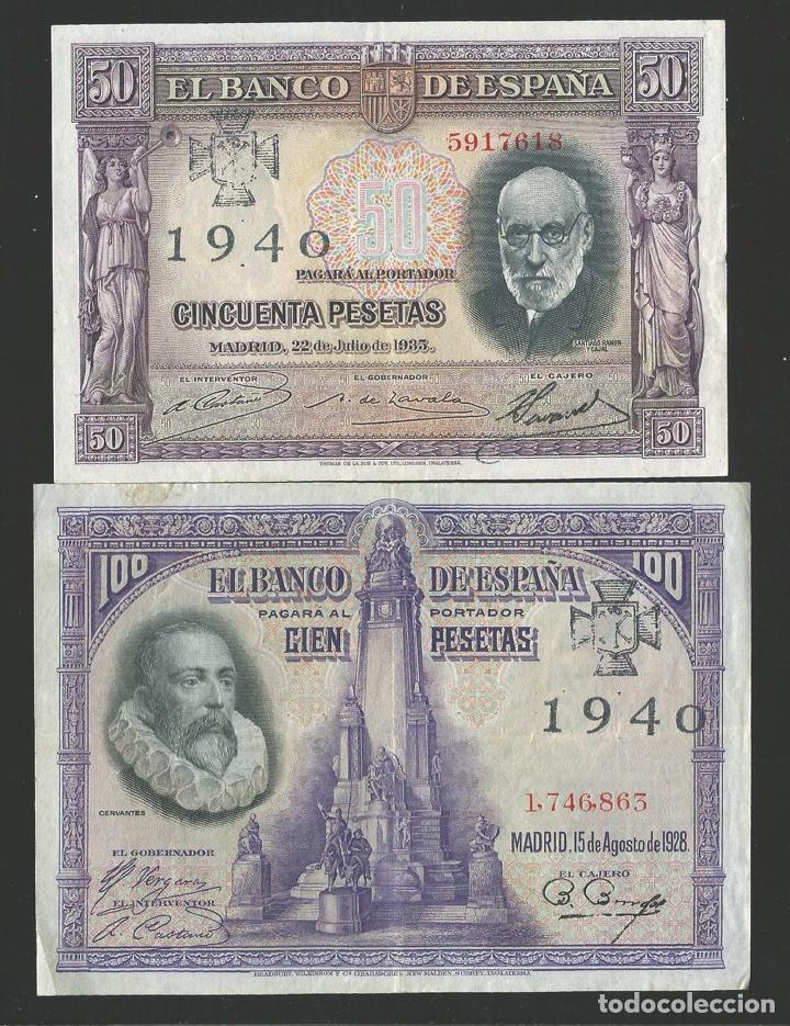 LOTE DE 2 BILLETES ESTADO ESPAÑOL 1925 1935 RESELLO CRUZ FALANGE REF 536 (Numismática - Reproducciones)