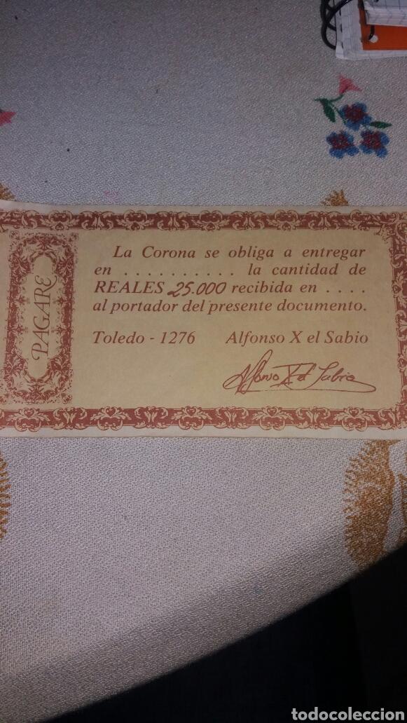 Reproducciones billetes y monedas: Replica pagaré Alfonso x El sabio 1276 - Foto 2 - 63653558