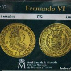 Reproducciones billetes y monedas: 8 ESCUDOS 1752 FERNANDO VI LIMA COLECCION DEL REAL A LA PESETA. Lote 64100879